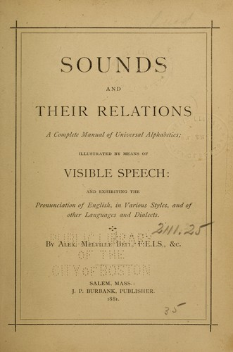 Sounds and their relations.