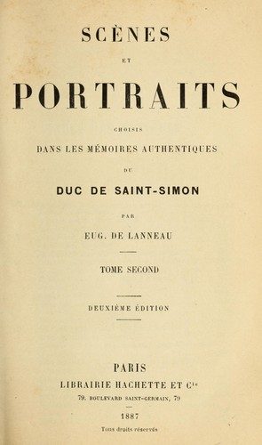 Download Scènes et portraits choisis dans les Mémoires authentiques du duc de Saint-Simon