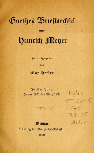 Goethes briefwechsel mit Heinrich Meyer
