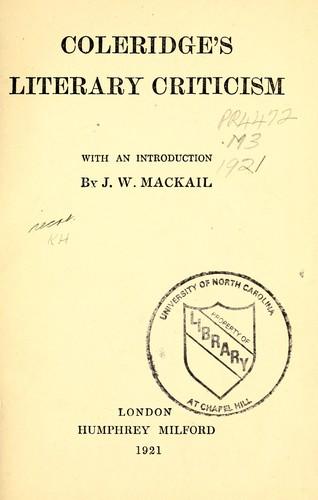 Download Coleridge's literary criticism