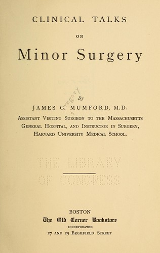 Download Clinical talks on minor surgery