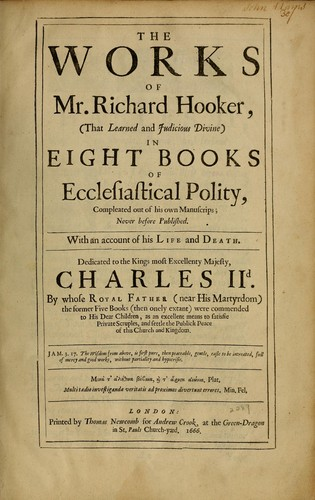 Download The works of Mr. Richard Hooker, (that learned and judicious divine)