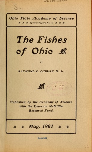The fishes of Ohio by Raymond C. Osburn