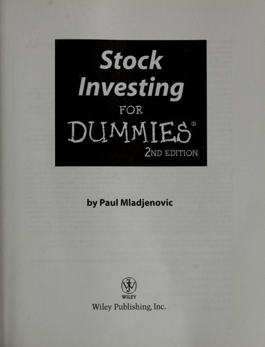 Stock investing for dummies by Paul J. Mladjenovic